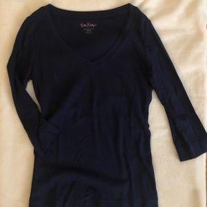 Lilly Pulitzer Navy V-Neck 3/4 Sleeve T-Shirt